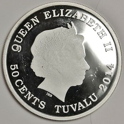 2014 Tuvalu 50 Cent.  Love Cockatoo Half oz Limited Silver Coin.  Proof.  123188