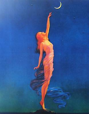 Lady reaching for the Moon Vintage art by Edward Eggleston