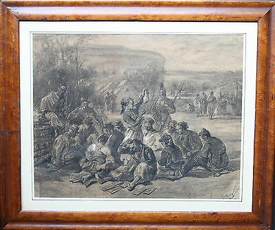 Alfred Quesnay De Beaurepaire  French Soldiers Battle Horses Art 1830-1897