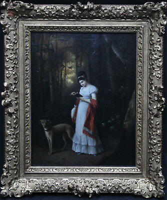 FRENCH SCHOOL ART 19th CENTURY PORTRAIT OIL PAINTING WOMAN DOG WOODED LANDSCAPE