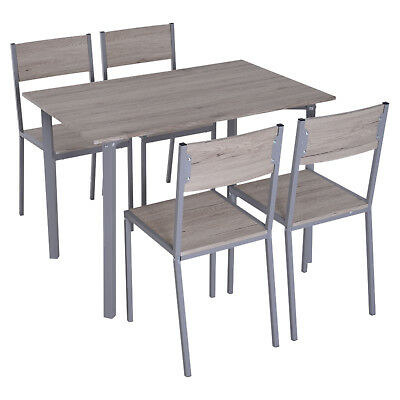 5pcs Wood Counter Height Bar Table Chair Set Kitchen Home Furniture for 4