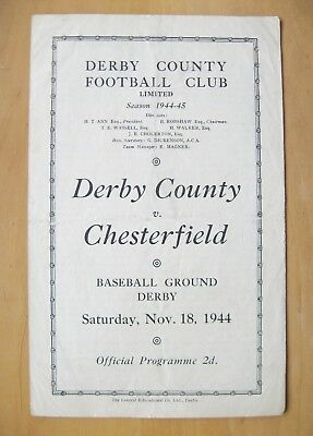 DERBY COUNTY v CHESTERFIELD 1944/1945 *Good Condition Football Programme*
