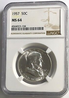1957 P NGC MS64 FRANKLIN HALF DOLLAR WHITE COINS 50 c 90% SILVER