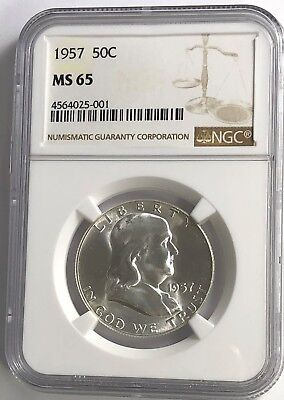 1957 P NGC MS65 FRANKLIN HALF DOLLAR WHITE COINS 50 c 90% SILVER
