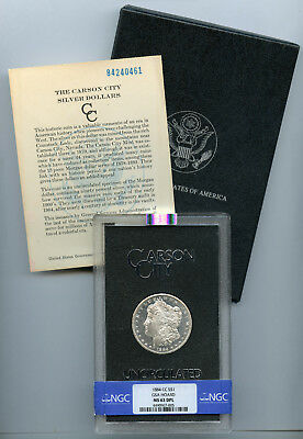 1884-CC Morgan Silver Dollar $1 GSA NGC MS 63 DPL With Box & COA