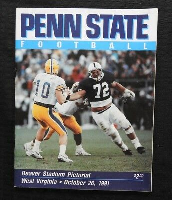 OCT 26 1991 PENN STATE vs WEST VIRGINIA COLLEGE FOOTBALL PROGRAM VERY NICE SHAPE