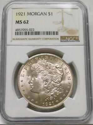 1921 Morgan Silver Dollar $1 ~ Ngc Ms62 #022