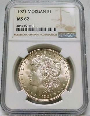 1921 Morgan Silver Dollar $1 ~ Ngc Ms62 #018