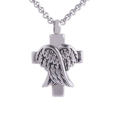 Silver Angel Wings Cross Cremation Pendant Necklace for Ashes Ash Holder Urn UK