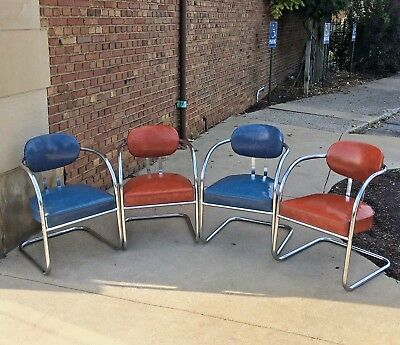 RARE SET OF 4 MID-CENTURY MODERN CHROMCRAFT 1960's DINING KITCHEN CHAIRS-EXC