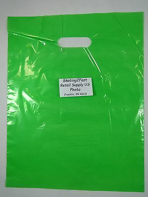"500 Qty. 12"" x 15"" Lime Glossy Low Density Merchandise Bag Retail Shopping Bags"