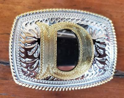 "Initial "" D "" Rodeo Cowboy Letter Shine Regular Gold Silver Western Belt Buckle"