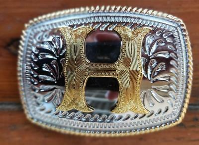 "Initial "" H "" Rodeo Cowboy Letter Shine Regular Gold Silver Western Belt Buckle"