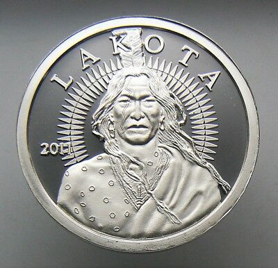 1 oz 2011 Lakota Indian Crazy Horse Buffalo .999 Silver Round