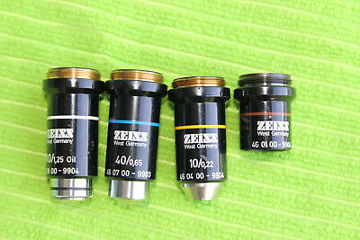 Carl Zeiss Microscope Objective set 100/1,25 Oel - 40/0,65 - 10/0,22 - 3,2/0,07