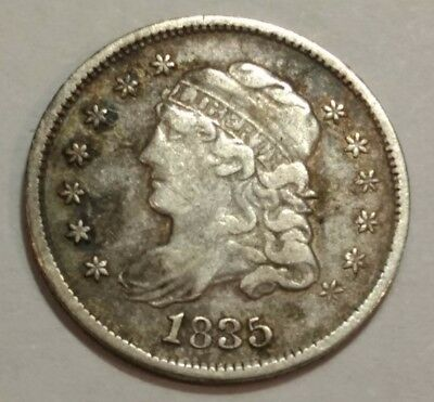 1835 Capped Bust silver US HALF DIME. VF, old cleaning. (Lot#1)
