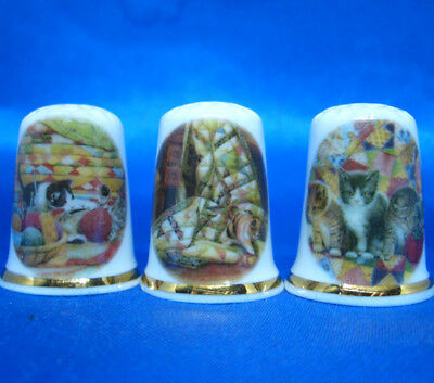 Fine Porcelain China Thimbles - Set Of Three Kittens And Quilts