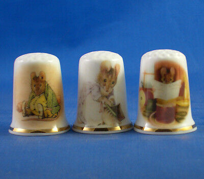 Fine Porcelain China Thimbles - Set Of Three Beatrix Potter Mice