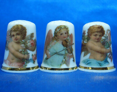 Fine Porcelain China Thimbles - Set Of Three Angelic Cherubs