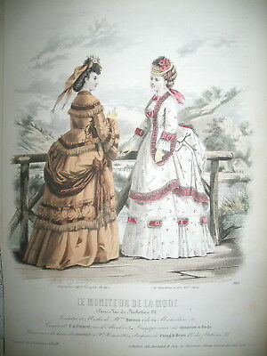 N° 24 TOILETTE COSTUME LITHO 21 x 30 CM PAR DAVID LE MONITEUR DE LA MODE 1870