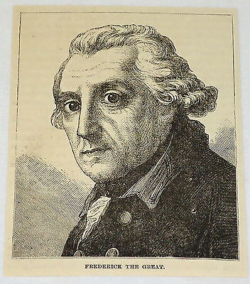 small 1887 magazine engraving ~ FREDERICK THE GREAT