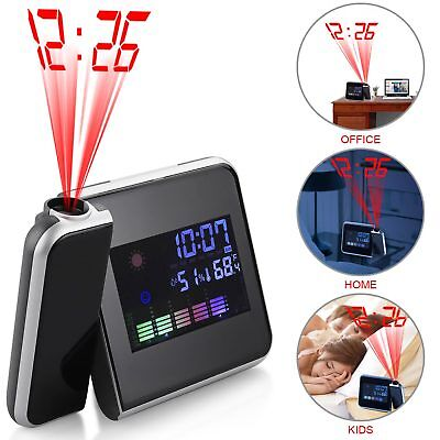 LED Digital Projection Alarm Clock Weather Thermometer Snooze Backlight US