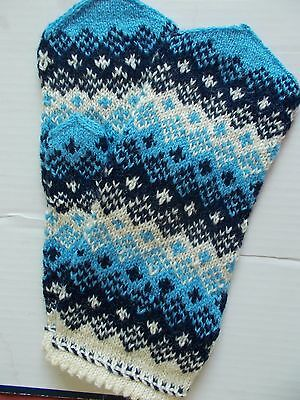 Latvian hand knitted 100% wool mittens, navy/white/light blue (size L)