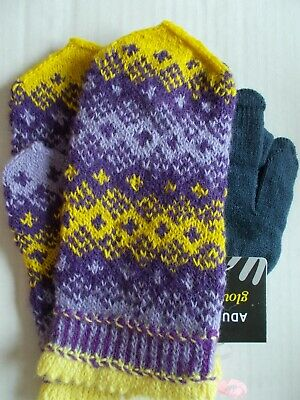 Latvian hand knitted 100% wool mittens, lavender/purple/yellow (size M)