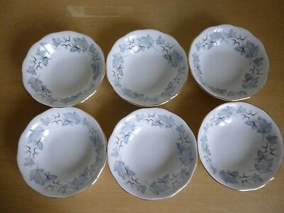 6 Royal Albert Silver Maple Small 5.5 inch Bowls or Fruit Saucers - 1st Quality