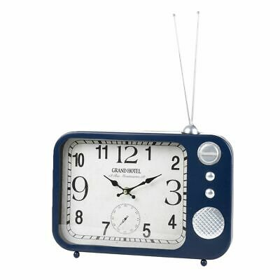Wall Clock & Table Clock Metal Vintage Radio Design, Dark Blue