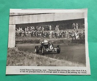 Car Paper Article Crystal Palace Cup Meeting Raymond Mays 2ltr Black E R A
