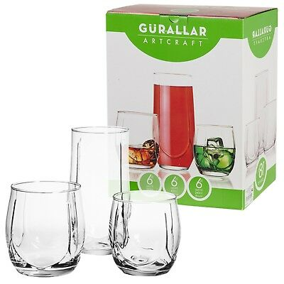18 Piece Set of Drinking Glasses Cups Cocktail Highball Whiskey Tumbler Gift Box