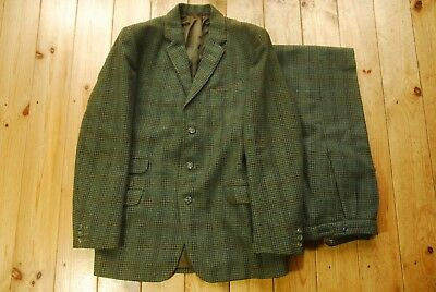 """Vintage Bespoke Irish Twist Cheviot Houndstooth Country Two Piece Suit 38S 30"""""""