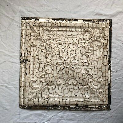"12"" x 12"" Antique 1890's Tin Ceiling Tile Reclaimed Metal Reclaimed Tan 48-19"