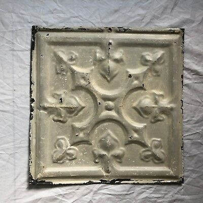 1890's 12 x 12 Antique Tin Ceiling Tile Taupe Metal Reclaimed  50-19
