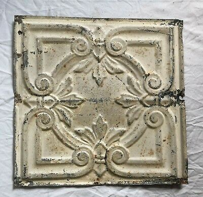 "Reclaimed 1890's Metal 12"" x 12"" Antique Tin Ceiling Tile Metal Putty 52-19"