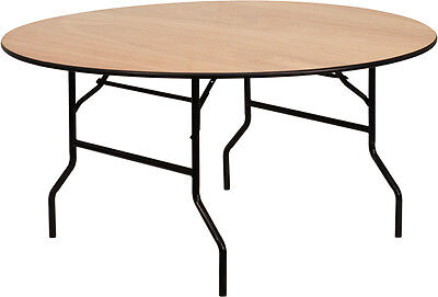 """60"""" Round Wood Top Commercial Grade Banquet Catering Folding Table"""