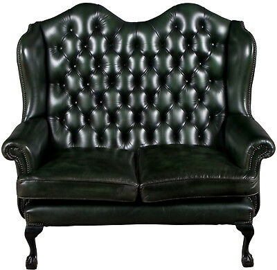 Vintage Antique Style Tall Wing Back Green Leather Love Seat Sofa Loveseat Couch