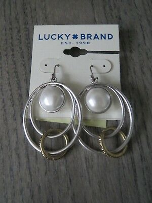 Lucky Brand two tone faux pearl multi circle drop earrings, NWT