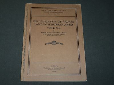 1931 The Valuation Of Vacant Land In Suburban Chicago Areas Book - J 3512