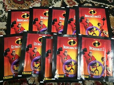 10 Packets Packs of Incredibles 2 Stickers PANINI