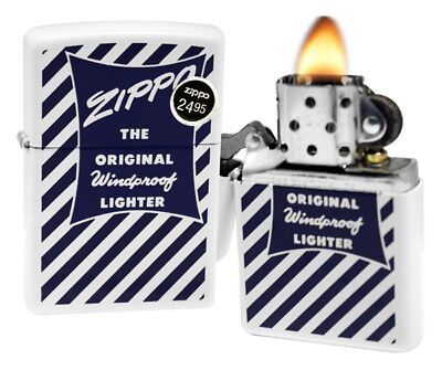 Zippo 29413 The Original Windproof White Matte Finish Blue Pocket Lighter New