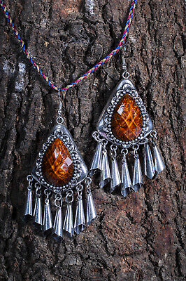Silver Oxidised Afghani Kuchi Earrings Ethnic Belly Dance Tribal Statement Drop