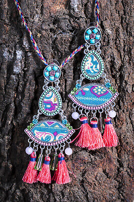 Afghani Kuchi Earrings Silver Oxidised  Ethnic Belly Dance Tribal Statement Drop
