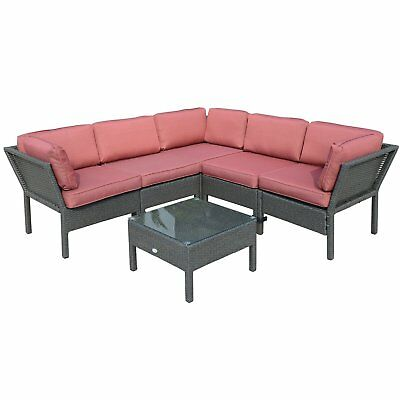 6pcs Stackable Outdoor Rattan Sofa Set Patio Sectional Furniture All Weather w/