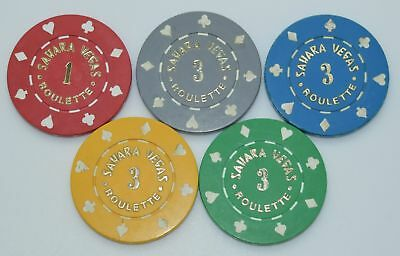 Set of 5 Sahara Roulette Casino Chips Las Vegas Nevada 8-Suits Mold 1980's