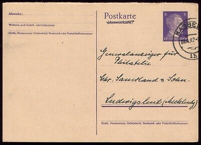Germany 1941 - Third Reich 6pf Adolf Hitler Reply Postcard Part 2 Used Kassel