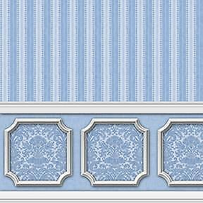ANNABELLE WAINSCOT MURAL PURPLE ORCHID DOLLHOUSE WALLPAPER 1:12 SCALE 2610