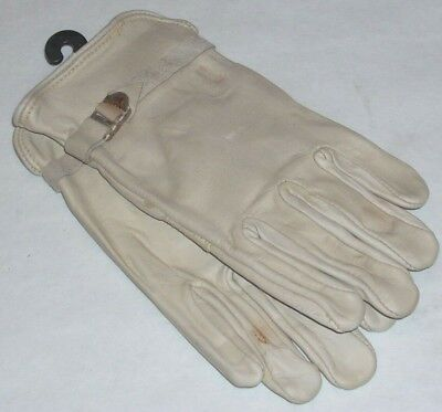 Lambert 700 Goatskin Blue Canvas Back White Leather Gloves Size Small USA Made