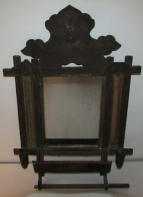 Antique 1800s Carved Wood Primitive Wall Mirror Sconce Hall Tree Candle Holders